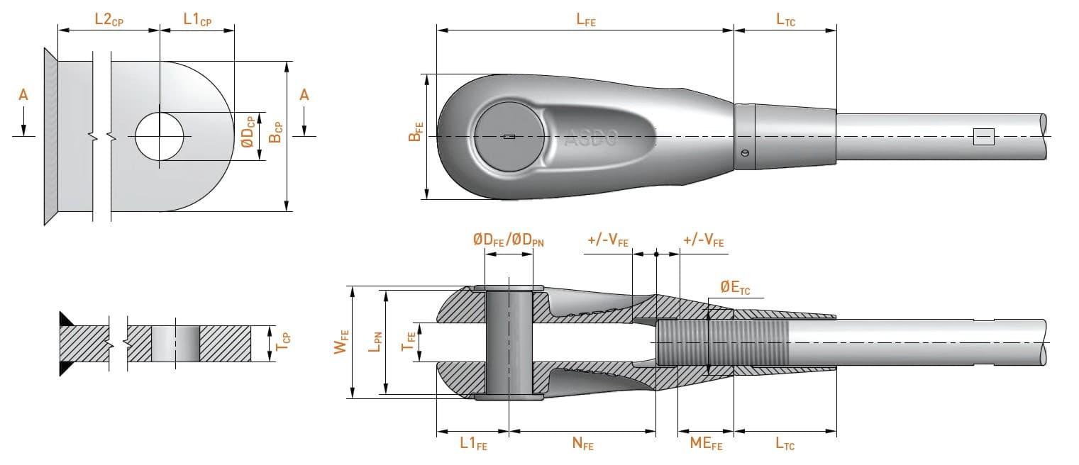 Dimensions des composants des systèmes d'haubanage architectural